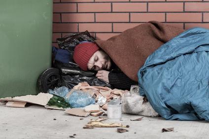 Obdachlose sind eine mögliche Zielgruppe von Sozialer Arbeit.